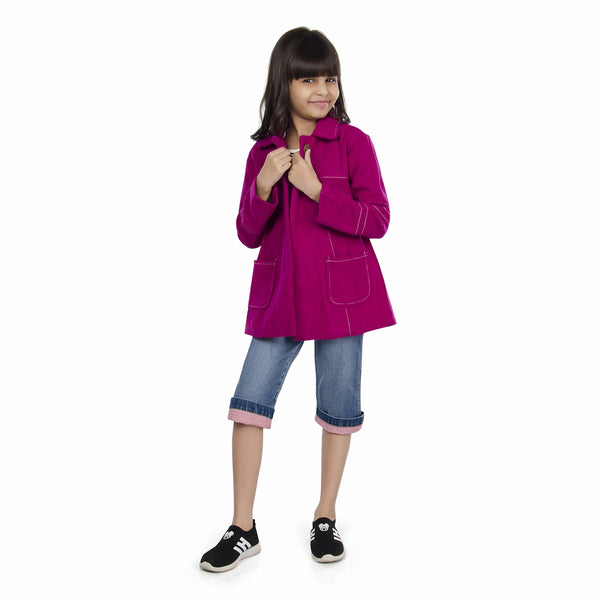 Olele® Girls Onion Pink Winter Woollen Jackets