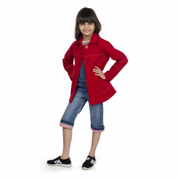 Olele® Girls Crimson Red Winter Woollen Jackets