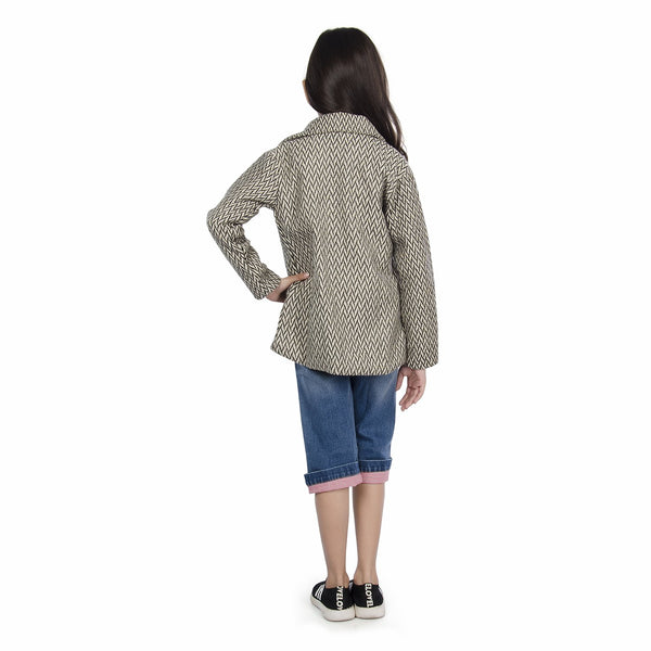 Olele® Girls White and Grey Herringbone Winter Woollen Jackets