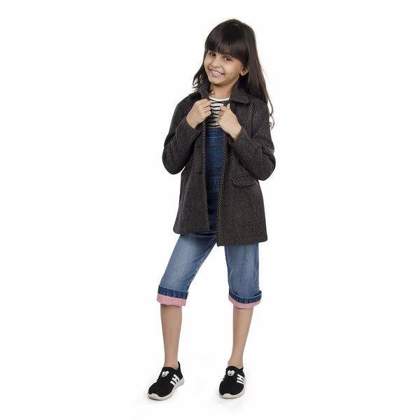 Olele® Girls Black and Grey Herringbone Winter Woollen Jackets