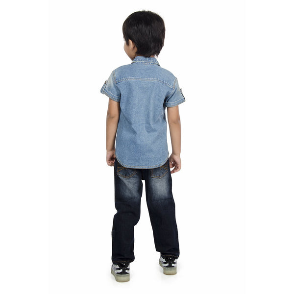 Olele® Boys Half Sleeve Denim Shirt