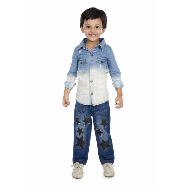 Olele® Boys Full Sleeve Denim Shirt with Ombre Effect