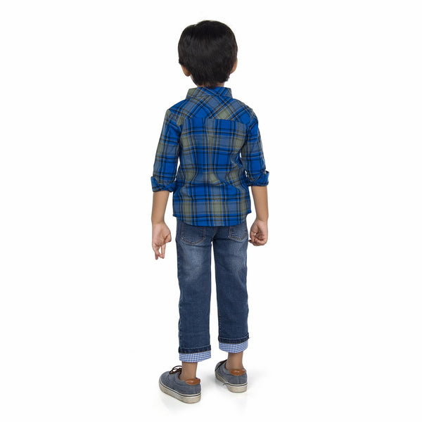 Olele® Boys Full Sleeve Blue Plaid Check Winter Shirt