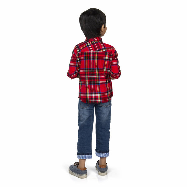 Olele® Boys Full Sleeve Red Plaid Check Winter Flannel Shirt