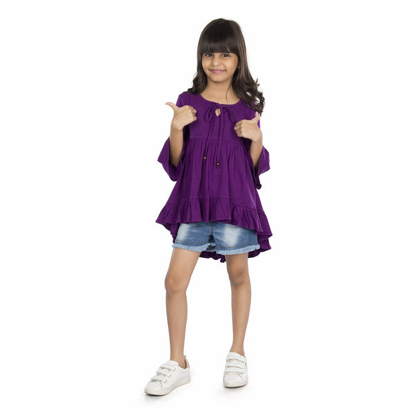 Olele® Girls High-Low Dress - Plum Purple