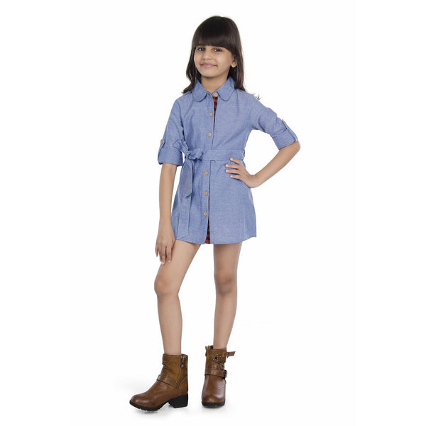 Olele® Chambray Dress with Contrast Lining