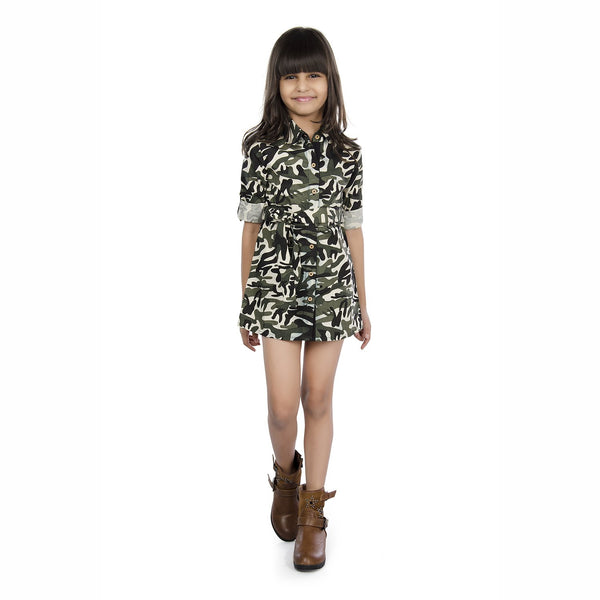 Olele® Girls Full Sleeve Army Print Dress