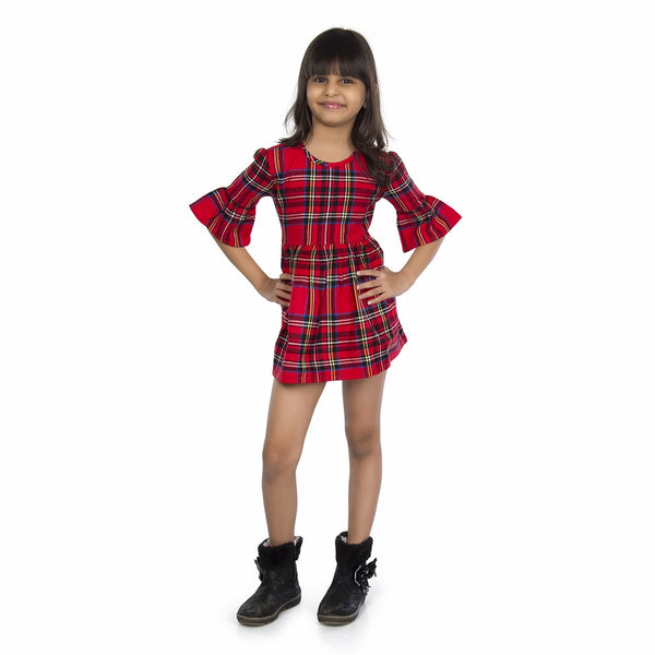 Olele® Girls Half Sleeve Plaid Flannel Red Check Dress