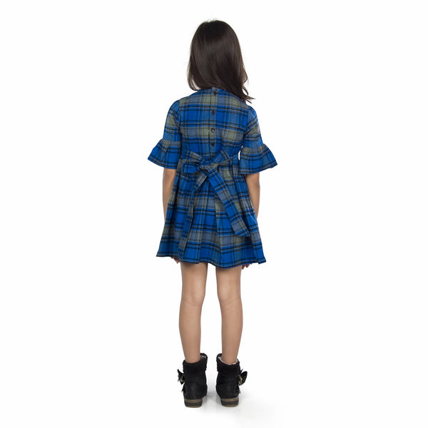 Olele® Girls Half Sleeve Plaid Flannel Blue Check Dress