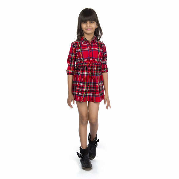 Olele® Girls Full Sleeve Plaid Flannel Red Check Dress