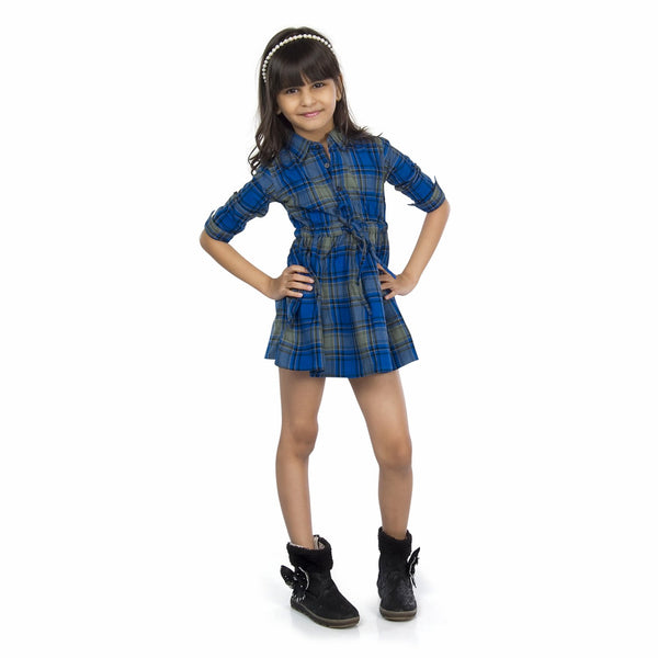 Olele® Girls Full Sleeve Plaid Flannel Blue Check Dress