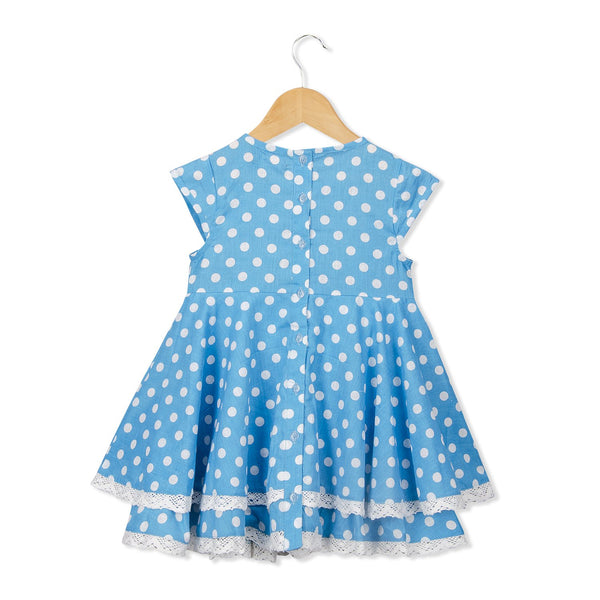 Olele® Girls White Polka Teal Dress with Lace