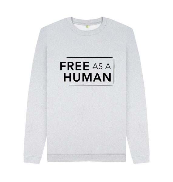 Grey FREE AS A HUMAN- CIRCULAR ORGANIC REMILL SWEATER