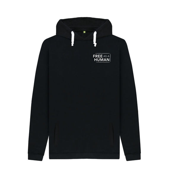 Black FREE AS A HUMAN UNISEX ORGANIC COTTON HOODIE- BLACK
