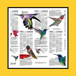 Hummingbird  - White Silk Scarf