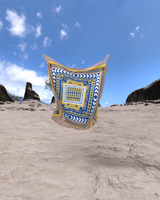 Organic Blue and Yellow Silk Scarves with Fringe Hem