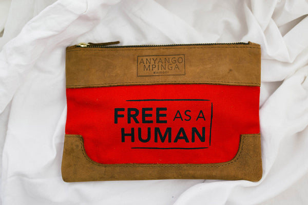 Red Canvas & Leather Pouch