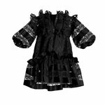 Lia Puff Sleeve Babydoll Black Mini Cotton Dress