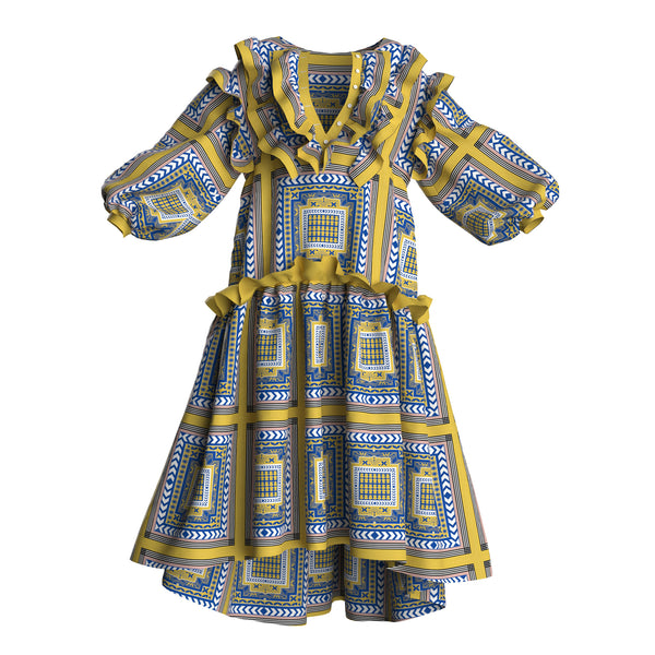 Lia Puff Sleeve Babydoll Blue Yellow Silk Printed Maxi Dress