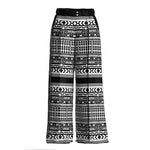 Siri Silk Printed Wide Leg Black and White Pants