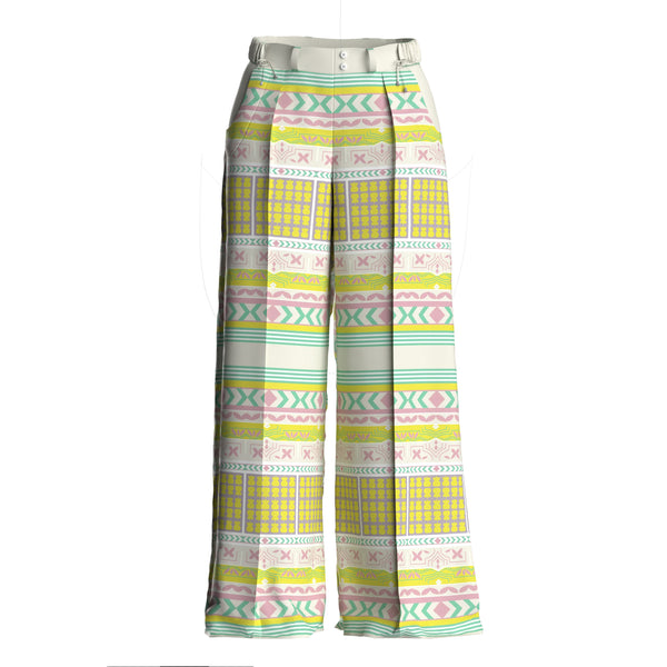 Siri Silk Printed Wide Leg Lime Pants