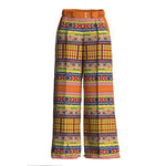 Siri Silk Printed Wide Leg Orange Pants