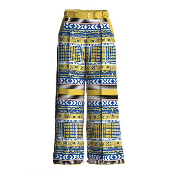 Siri Silk Printed Wide Leg Yelow Blue Pants