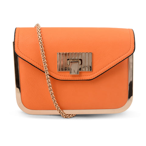ORANGE LONG CHAIN HANDBAG