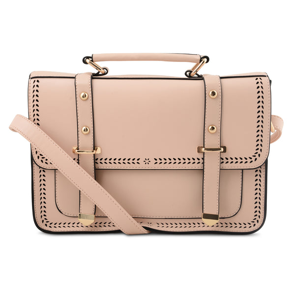 BLUSH PINK CUT DETAIL SATCHEL