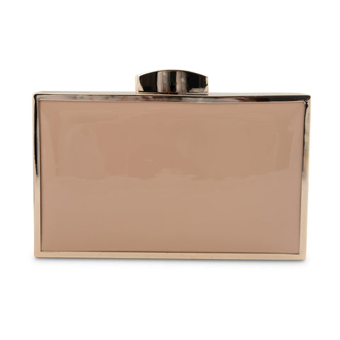 NUDE PATENT BOX CLUTCH