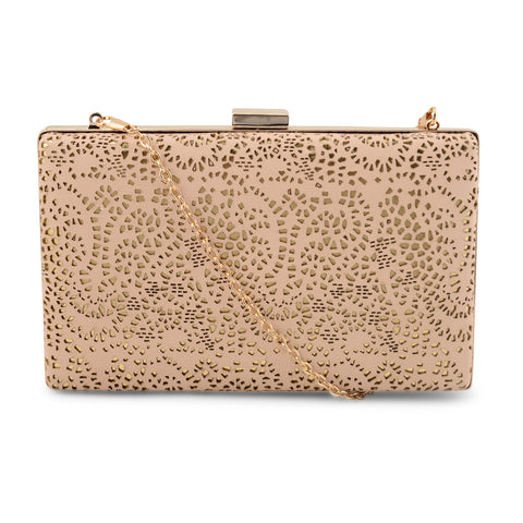 BEIGE LASER CUT CLUTCH