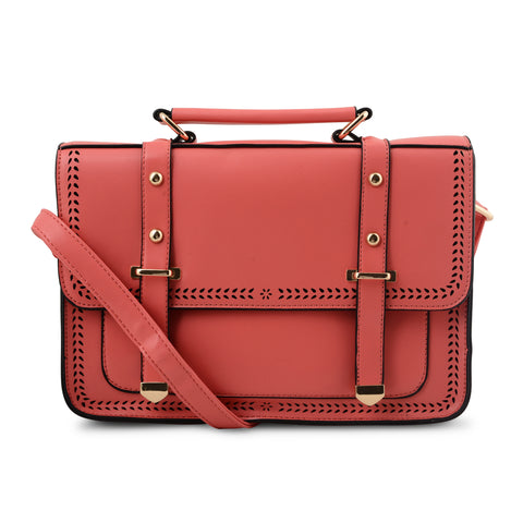 CORAL PINK CUT DETAIL SATCHEL