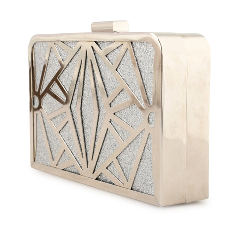 SILVER ART DECO GLITTER CLUTCH