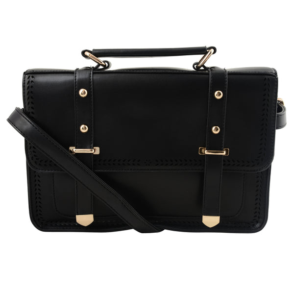 BLACK CUT DETAIL SATCHEL