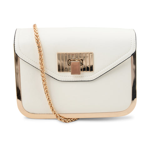 WHITE LONG CHAIN HANDBAG