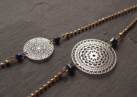 SILVER FILIGREE DISC NECKLACE