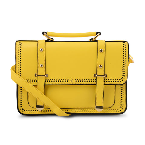 YELLOW CUT DETAIL SATCHEL