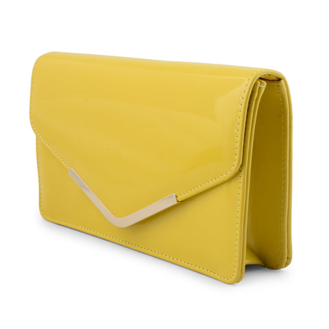 BUTTERCUP YELLOW PATENT ENVELOPE CLUTCH