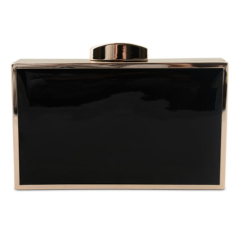 BLACK PATENT BOX CLUTCH