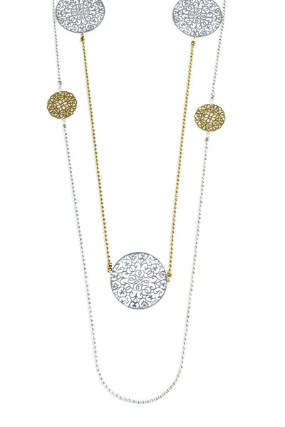 GOLD AND SILVER DISC NECKLACE