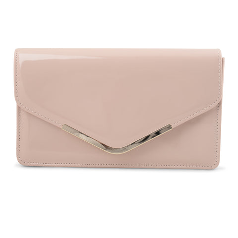 POWDER PINK PATENT ENVELOPE CLUTCH
