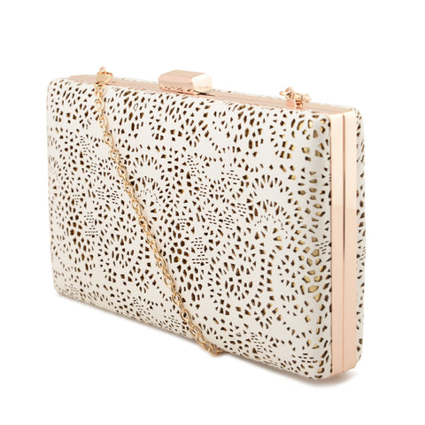 WHITE LASER CUT CLUTCH