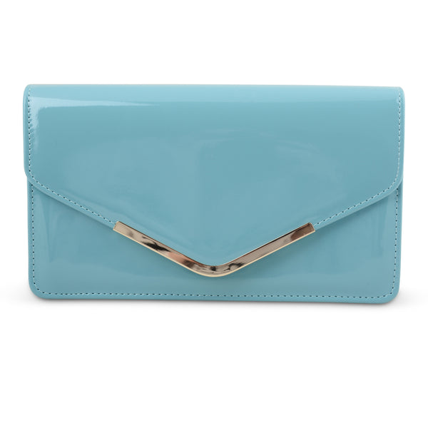 BABY BLUE PATENT ENVELOPE CLUTCH