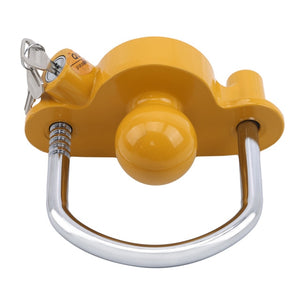 Universal Heavy Duty Hitch Lock Caravan Trailer Ball Coupler Trailer Lock Heavy Duty Hitch Anti-Theft Lock Yellow