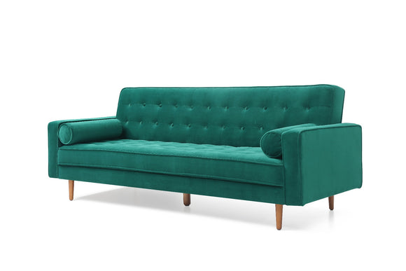 Sofa Bed with All-over Button Detail Green Velvet