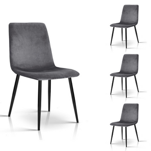 Set of Four Modern Velvet Dining Chairs