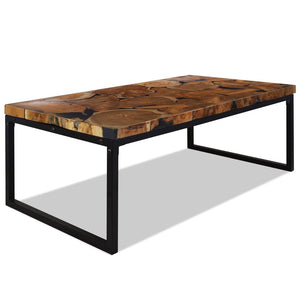 Coffee Table Teak Resin 110x60x40 cm Black and Brown