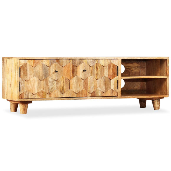 Hexagonal Pattern Mango Wood TV Unit 118cm