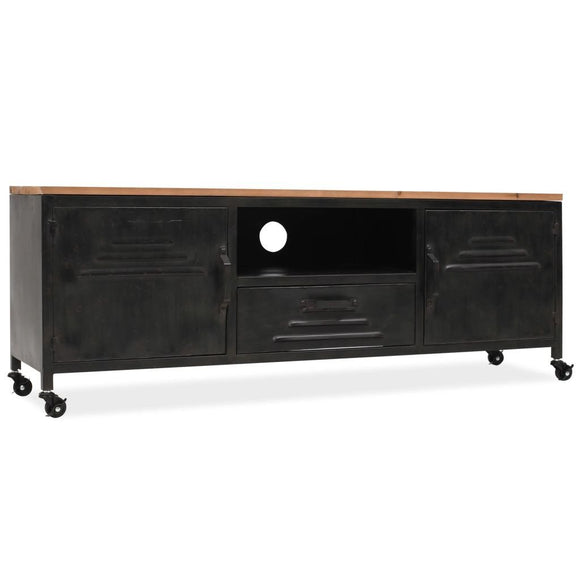 Locker Style TV Cabinet Black with Wooden Top