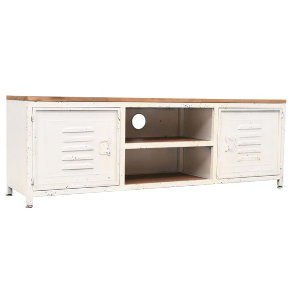 Locker Style TV Cabinet White with Wooden Top